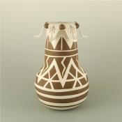 Johnson, Norvin – Jar with Lightning Design and Flower Rim